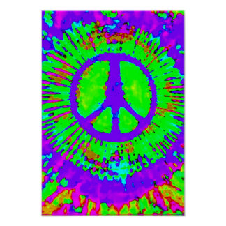 Abstract Psychedelic Tie-Dye Peace Sign Print