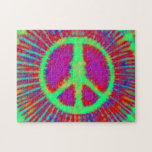 Abstract Psychedelic Tie-Dye Peace Sign Puzzle
