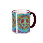 Abstract Psychedelic Tie-Dye Peace Sign Ringer Coffee Mug