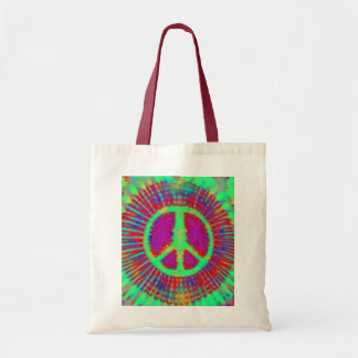 Abstract Psychedelic Tie-Dye Peace Sign Tote Bag