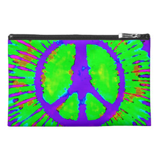 Abstract Psychedelic Tie-Dye Peace Sign Travel Accessories Bag