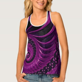 Abstract purple and black swirl women's all-over