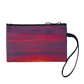 Abstract Purple and Orange Sunset Change Purses