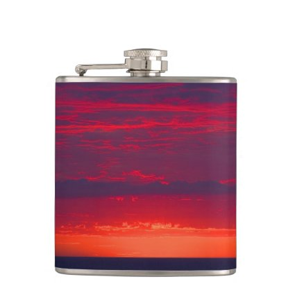 Abstract Purple and Orange Sunset Flasks