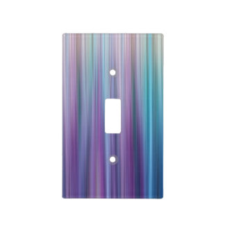 Abstract Purple and Teal Gradient Stripes Pattern Light Switch Cover