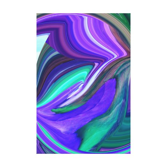 Abstract Purple and Teal Stretched Canvas Print