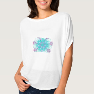Abstract purple and turquoise design circle top t shirts