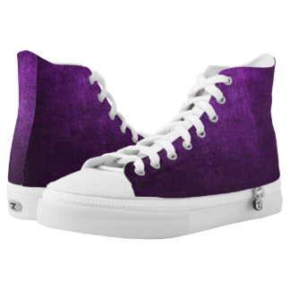 Abstract Purple Background Or Paper With Bright High-Top Sneakers