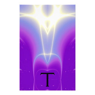 ABSTRACT PURPLE BLUE WHITE LIGHT WAVES MONOGRAM STATIONERY