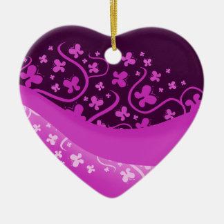 Abstract Purple Butterflies Ceramic Ornament