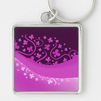 Abstract Purple Butterflies Keychain