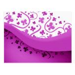 Abstract Purple Butterflies Post Card