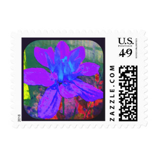 Abstract Purple Dahlia Flower Painting Postage