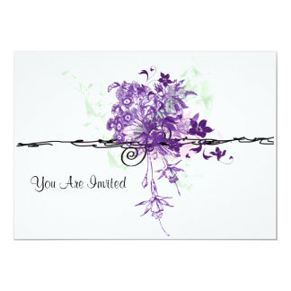 Abstract Purple Flowers Bouquet, You Are Invited Card