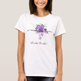 Abstract Purple Flowers Floral Bouquet Bride To Be T-Shirt