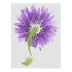 Abstract Purple Flowers Post Card