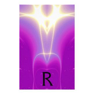 ABSTRACT PURPLE FUCHSIA WHITE LIGHT WAVES MONOGRAM STATIONERY