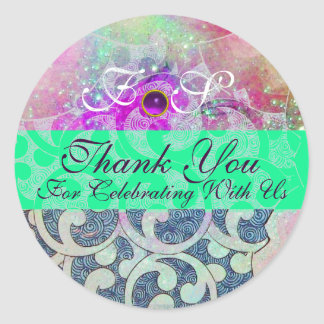 ABSTRACT PURPLE GEM BLUE GREEN WAVES -THANK YOU CLASSIC ROUND STICKER