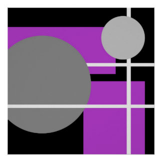 Abstract Purple Gray Black White AP0001 Posters