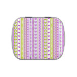 Abstract Purple green pattern + dots flowers heart Candy Tin