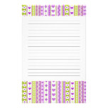Abstract Purple green pattern + dots flowers heart Custom Stationery
