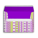 Abstract Purple green pattern dots flowers hearts Envelope