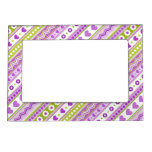 Abstract Purple green pattern dots flowers hearts Photo Frame Magnet