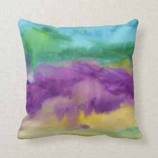 Abstract Purple Green Yellow Watercolor Painting Throw Pillow