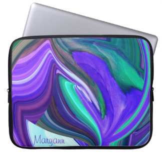 Abstract Purple Leaf Laptop Sleeve *personalize*