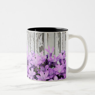 Abstract Purple Lilys on Wooden Fence Two-Tone Coffee Mug