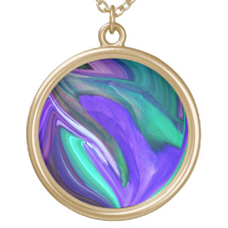Abstract Purple N Teal Leaf Necklace