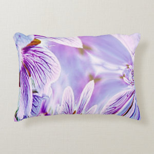 Abstract Purple Pansy Accent Pillow