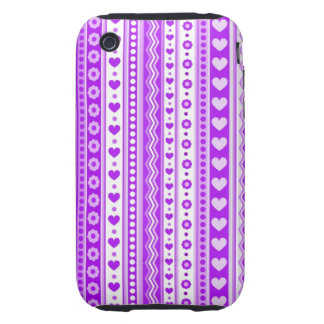 Abstract Purple pattern + dots flowers hearts iPhone 3 Tough Case