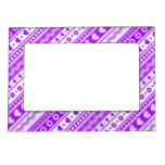 Abstract Purple pattern + dots flowers hearts Picture Frame Magnet