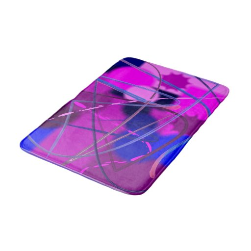 Abstract Purple Pink And Blue Bathroom Mat Zazzle