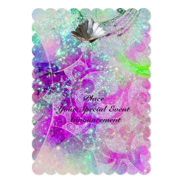 Beach Themed ABSTRACT PURPLE PINK BLUE WAVES SEASHELLS,SPARKLES CARD