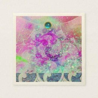 ABSTRACT PURPLE PINK TEAL BLUE WAVES  IN SPARKLES NAPKIN