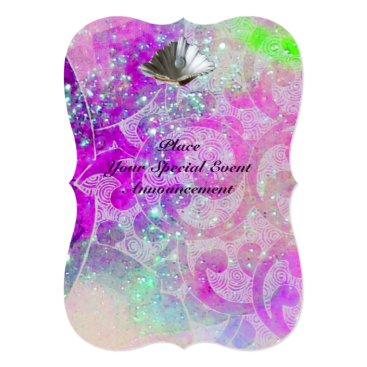 Beach Themed ABSTRACT PURPLE PINK WAVES SEASHELLS ,BLUE RIBBON CARD