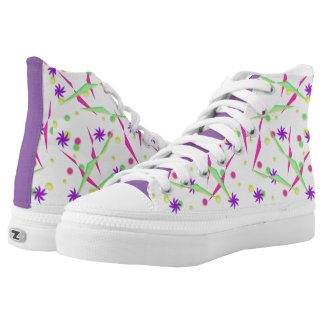 Abstract Purple Pinwheel High-Top Sneakers