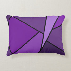 Abstract Purple Polygons Accent Pillow
