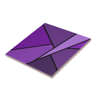 Abstract Purple Polygons Ceramic Tile