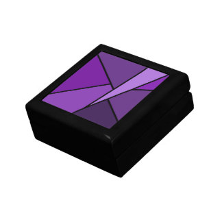 Abstract Purple Polygons Jewelry Box