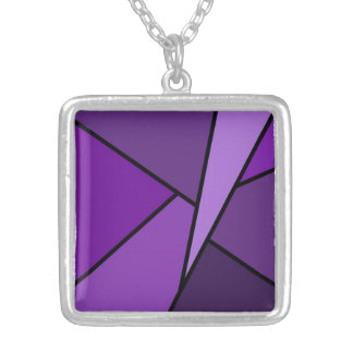 Abstract Purple Polygons Silver Plated Necklace