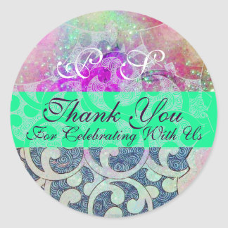 ABSTRACT PURPLE TEAL BLUE GREEN WAVES -THANK YOU CLASSIC ROUND STICKER