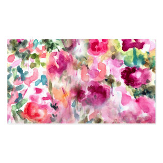 Abstract Purple Watercolor Floral Background Business Card Template