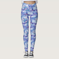 Abstract Purple Watercolor Leggings