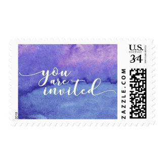 Abstract Purple Watercolor Wedding You Are Invited Postage