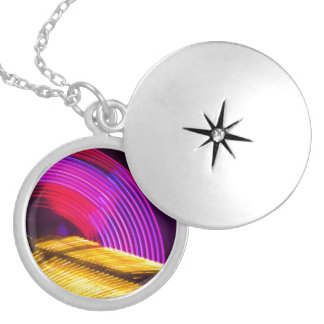 Abstract Purple Yellow Red and Green Lights Round Locket Necklace