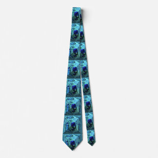 Abstract pyramid with blue waterpearl neck tie