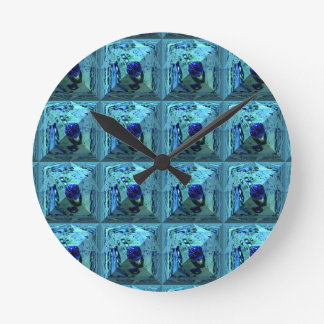 Abstract pyramid with blue waterpearl round clock